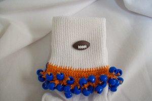 Orange and Royal Blue Football Spirit Beaded Bobby Socks
