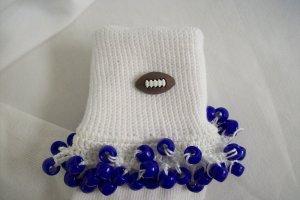 White and Dark Blue Football Spirit Beaded Bobby Socks