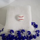 White and Dark Blue Baseball Spirit Beaded Bobby Socks