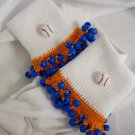 Orange and Royal Blue Baseball Spirit Beaded Bobby Socks