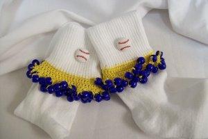 Yellow and Dark Blue Baseball Spirit Beaded Bobby Socks
