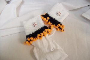 Orange and Black  Baseball Spirit Beaded Bobby Socks