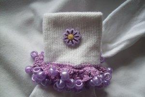 Purple Flowered  Girls Custom Beaded Crocheted Socks