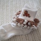 Reindeer Christmas Beaded Crocheted Bobby Socks