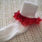 Red Trimmed  Christmas Beaded Crocheted Bobby Socks