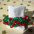Girl's Custom Made Beaded Crochet Christmas Socks