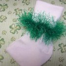 St Patrick's Green Fur Trimmed Hand Crocheted Socks