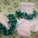 St Patrick's  Girls Custom Beaded Crocheted Socks Green and Clear-Ladies Sizes Available