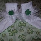St Patrick's Shamrock  Fur Trimmed Hand Crocheted Socks