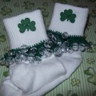 St Patrick's Green Trim  Girls Custom Beaded Crocheted Socks-Ladies Sizes Available