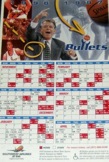 1996-1997 Washington Bullets Magnet Schedule