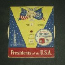Retro 1950's Tip Top Bread Advertising Insert Presidents