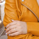 Gold CZ Square Ring, Gold Solitaire CZ Ring, Diamonds CZ Ring, Simulated Diamonds Ring