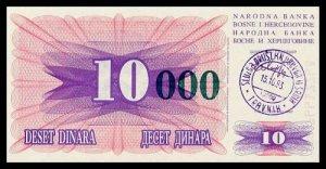 BOSNIA AND HERZEGOVINA - 10 000 Dinara 1993, Pick 53a, UNC
