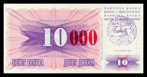 BOSNIA AND HERZEGOVINA - 10 000 Dinara 1993, Pick 53d, UNC