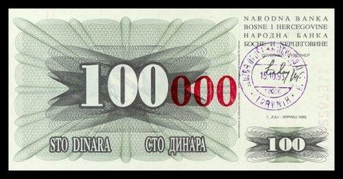 BOSNIA AND HERZEGOVINA - 100 000 Dinara 1993, Pick 56b, UNC
