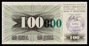 BOSNIA AND HERZEGOVINA - 100 000 Dinara 1993, Pick 56a, UNC