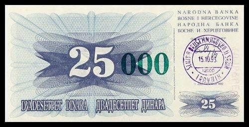 BOSNIA AND HERZEGOVINA - 25 000 Dinara 1993, Pick 54a, UNC