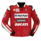 Ducati Men Motorcycle Street Racing CE Protective Cowhide Leather Jacket Sports