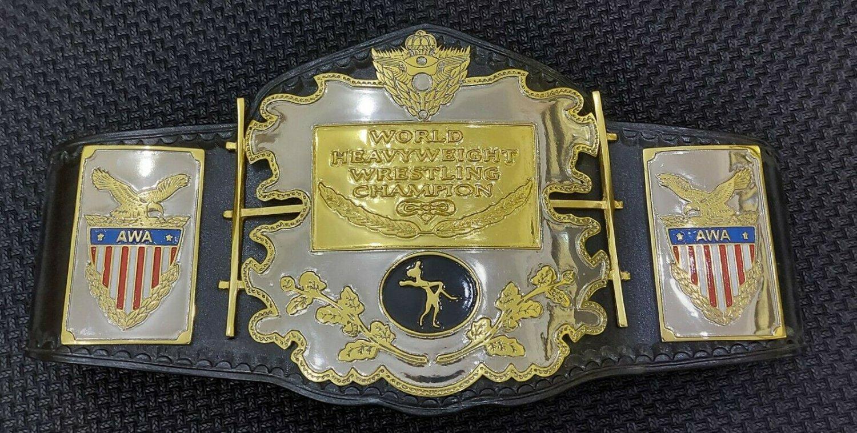 AWA World Heavyweight Wrestling Championship Zinc Plates soft Leather Belt