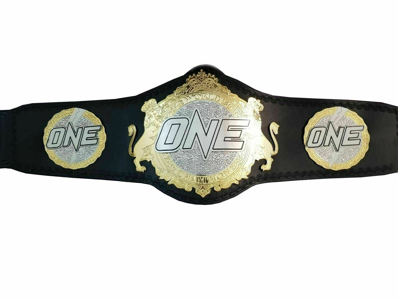 ONE WORLD CHAMPIONSHIP FC MMA UFC 2MM BRASS LEATHER BELT ADULT SIZE