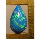 Blue lab created opal cabochon, 19.5X12mm drop