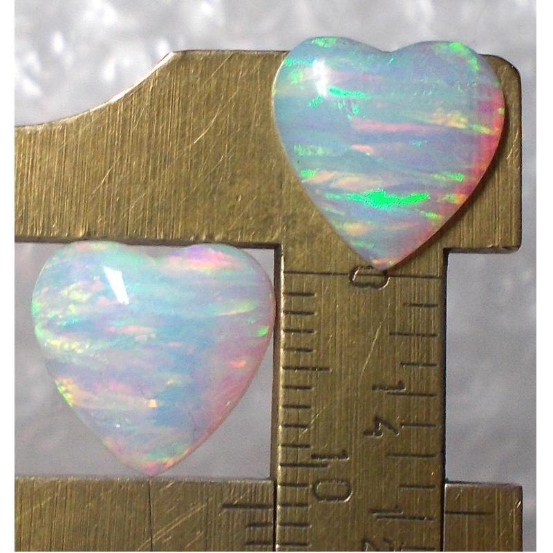 lab created opal pair, 12X12.5mm heart
