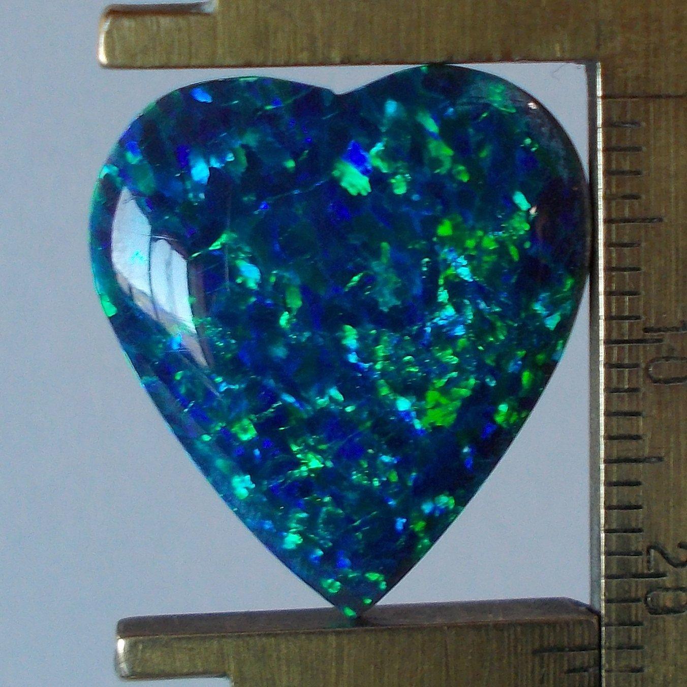 Peacock blue created opal cab, 23X20.5mm heart