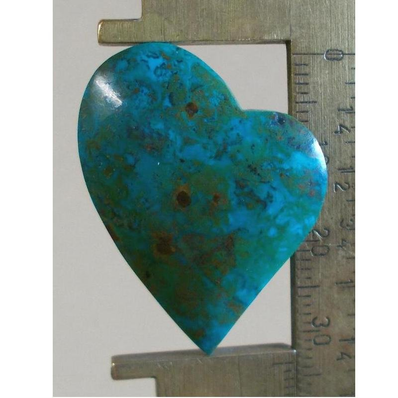 Chrysocolla cabochon, 33.5X26.5mm lazy heart