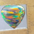 dark lab created opal cabochon, 14.4X14.3mm heart