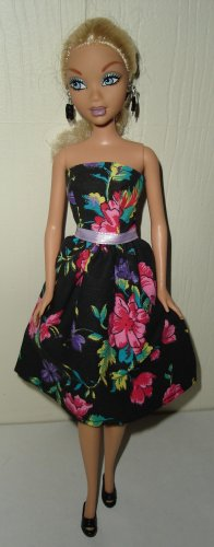Barbie Doll Type Dress Purple and Pink Flowers