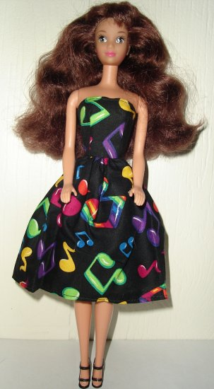 Barbie Doll Type Dress Colorful Music Notes