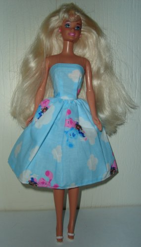Barbie Doll Type Dress Blue & Pink Dogs
