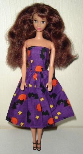 Barbie Doll Type Dress Halloween Purple Bats & Stars