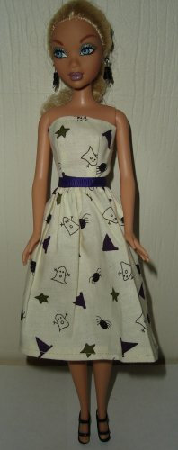 Barbie Doll Type Dress Halloween Ghost and Spiders