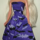 Barbie Doll Type Dress Halloween Black and Purple Bats