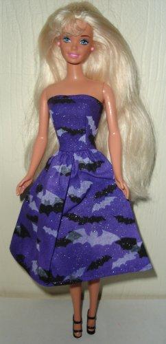 Barbie Doll Type Dress Halloween Black and Purple Bats