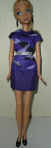Barbie Doll Type Clothes Halloween Black and Purple Bat Outfit