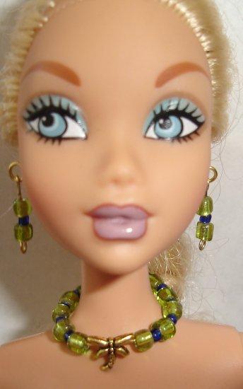 Barbie Doll Type Jewelry Green Dragonfly set