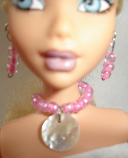 Barbie Doll Type Jewelry Pink Shell set