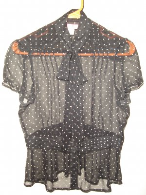 Urban Outfitters LUX Sheer Black & White Polka dot Blouse