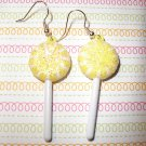 Lemon Yellow Lollipop Sucker Earrings