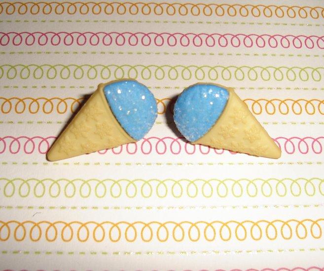 Blueberry Blue Ice Cream Snow Cone Earrings