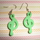 Green Music Note Earrings