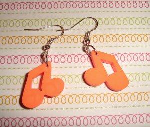Orange Music Note Earrings