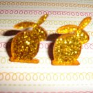 Golden Orange Glitter Bunny Rabbit Earrings