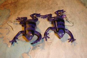 Purple Frog Earrings