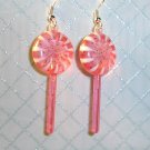 Strawberry Pink Lollipop Sucker Earrings