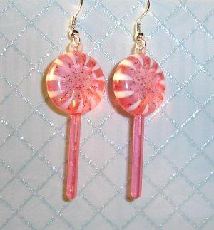 Strawberry Pink Lollipop Sucker Earrings