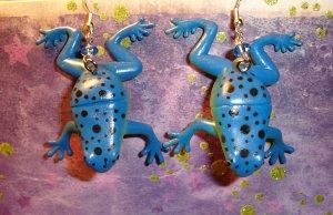 Blue Frog Earrings